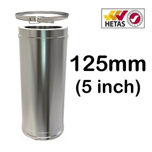 """5"""" (125mm) Stainless Steel Twin Wall Flue"""