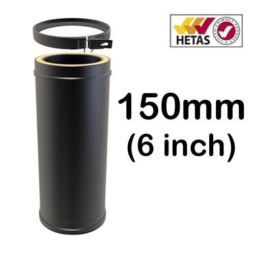 """6"""" (150mm) Black Twin Wall Flue"""