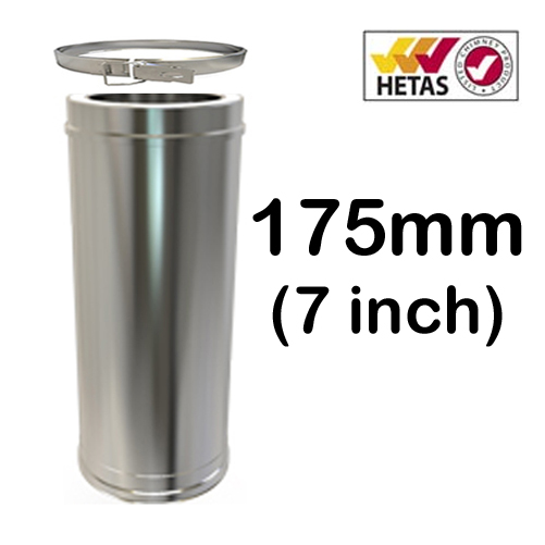 """7"""" (175mm) Stainless Steel Twin Wall Flue"""