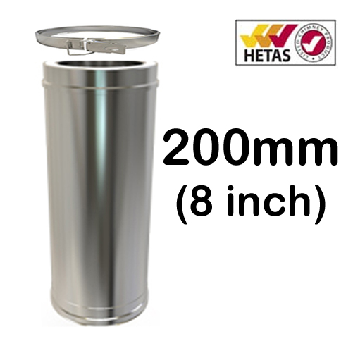 """8"""" (200mm) Stainless Steel Twin Wall Flue"""