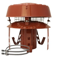 """Flue Terminal - Terracotta Pot Hanger with anti down draught cowl 5"""" (125mm)"""